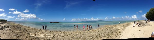 石垣の海と観光客